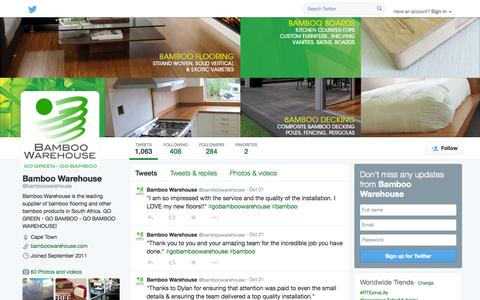 Screenshot of Twitter Page twitter.com - Bamboo Warehouse (@bamboowarehouse) | Twitter - captured Oct. 25, 2014