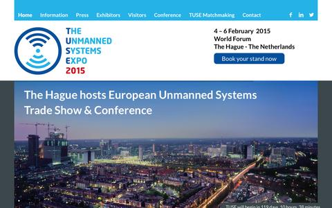 Screenshot of Home Page tusexpo.com - The Unmanned Systems Expo (TUSExpo) | 4-6 February 2015  Tusexpo - captured Oct. 7, 2014