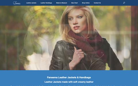 Screenshot of Home Page faneema.com - Faneema Leather Jackets and Leather Handbags with classic design - captured Oct. 10, 2018