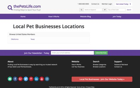 Screenshot of Locations Page thepetslife.com - Find Local Pet Businesses by Location - thePetsLife.com - captured Dec. 2, 2016