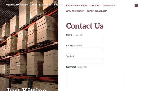 Screenshot of Contact Page justkitting.com - Contact Us | Just Kitting - captured Aug. 7, 2016