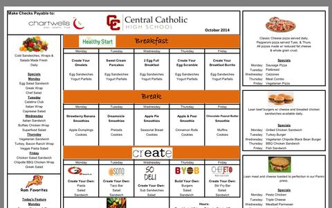 Screenshot of Menu Page centralcatholichigh.org captured Oct. 5, 2014