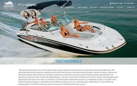 Screenshot of Testimonials Page leisureboat.ky - Testimonials and Reviews of Leisure Boat Club - captured Jan. 28, 2016
