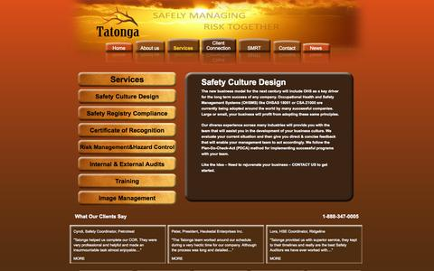 Screenshot of Services Page tatonga.ca - Tatonga - Services - captured Oct. 7, 2014