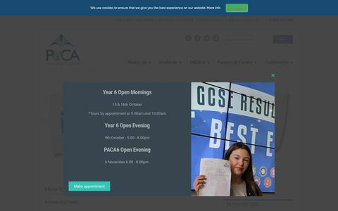 Screenshot of Contact Page paca.uk.com - Portslade Aldridge Community Academy   » How to Contact Us - captured Sept. 28, 2018