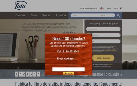 Screenshot of Home Page lulu.com - Publica tu libro independientemente de gratis en línea en Lulu.com - captured Dec. 29, 2016