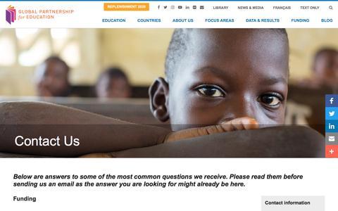 Screenshot of Contact Page globalpartnership.org - Contact Us | Global Partnership for Education - captured June 24, 2017
