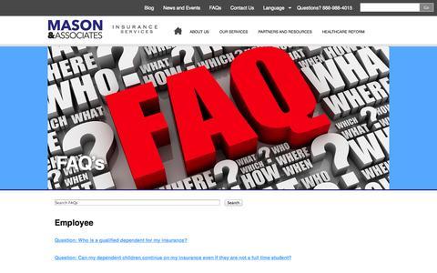 Screenshot of FAQ Page masonandassocinsurance.com - Mason and Associates FAQ's   Mason and Associates - captured Oct. 27, 2014