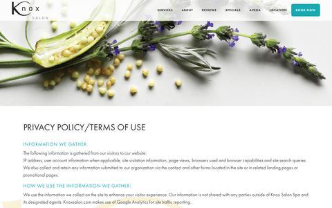 Screenshot of Privacy Page knoxsalon.com - Privacy Policy | Knox Salon | Los Angeles, CA - captured Nov. 6, 2018