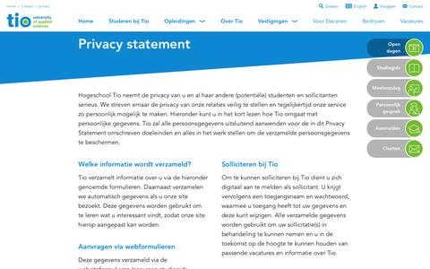 Screenshot of Privacy Page tio.nl - Contact - captured Aug. 15, 2017