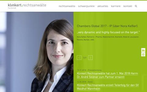 Screenshot of Home Page klinkert.pro - Klinkert.pro - Klinkert Rechtsanwälte - captured Oct. 15, 2018
