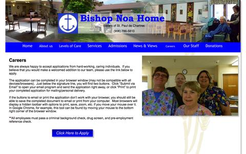 Screenshot of Jobs Page bishopnoahome.com - Careers - captured May 14, 2016
