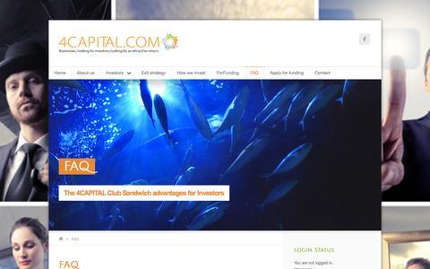 Screenshot of FAQ Page 4capital.com - 4 CAPITAL Venture Capital & Crowd Funding - captured Oct. 7, 2014