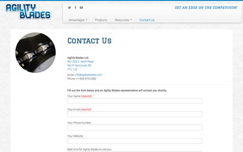 Screenshot of Contact Page agilityblades.com - Contact Us | Agility Blades - captured Sept. 30, 2014