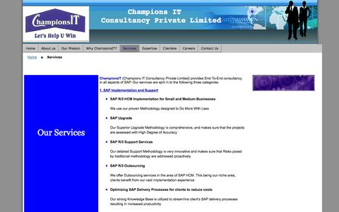 Screenshot of Services Page championsit.com - services at championsit - sap hcm consultancy delhi ncr gurgaon noida executive search staffing - captured Oct. 2, 2014