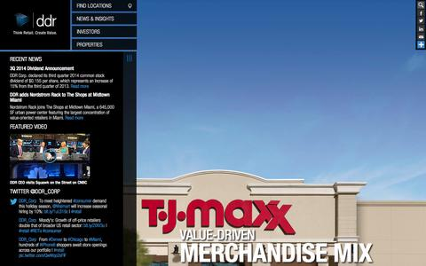 Screenshot of Home Page ddr.com - DDR Corp. | Commercial Real Estate & Retail Space for Lease | NYSE:DDR - captured Sept. 23, 2014