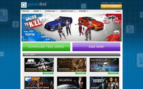 Screenshot of Home Page realtimeworlds.com - GamersFirst – Free To Play Multiplayer Online Games, Free MMO,  Action Based MMOTPS, Post-Apocalyptic MMO, Online FPS, Adventure, Shooting & Strategy Games Online - captured July 11, 2014