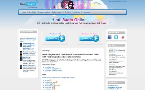 Screenshot of Site Map Page merasangeet.com - Site map | Hindi Radio Mera Sangeet | Online Radio featuring RJs, Live Programs, Talk Shows and Best Hindi Music | 1 - captured Oct. 26, 2014