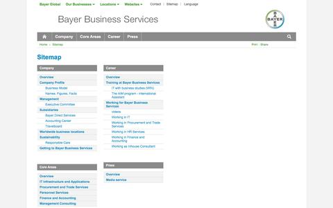 Screenshot of Site Map Page bayer.com - Sitemap - captured June 29, 2016