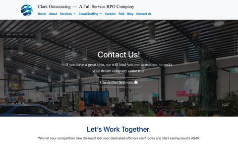 Screenshot of Contact Page clarkoutsourcing.com - Contact Us – Clark Outsourcing - captured May 17, 2019