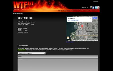 Screenshot of Contact Page wtfast.com - Contact Us - captured Oct. 26, 2014