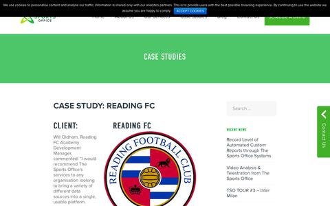 Screenshot of Case Studies Page thesportsoffice.com - Case Studies Archives - The Sports Office - captured Oct. 20, 2018