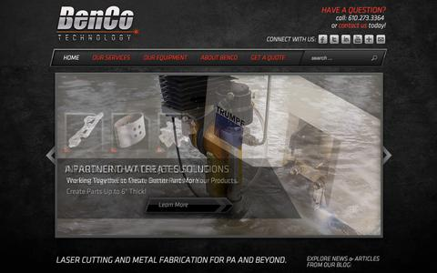 Screenshot of Home Page bencotechnology.com - Laser Cutting in PA & Metal Fabrication in PA | BenCo Technology - captured Oct. 5, 2014