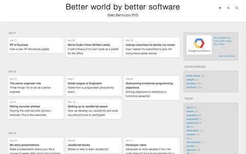 Screenshot of Team Page glebbahmutov.com - Better world by better software - captured Feb. 8, 2018