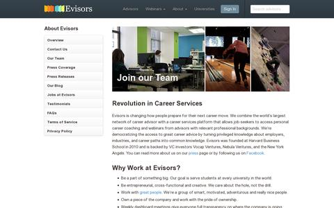 Screenshot of Jobs Page evisors.com - Jobs at Evisors – Evisors - captured July 19, 2014