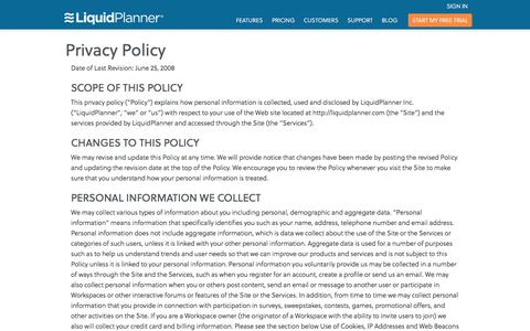 Screenshot of Privacy Page liquidplanner.com - Privacy Policy - LiquidPlanner - captured Feb. 27, 2016