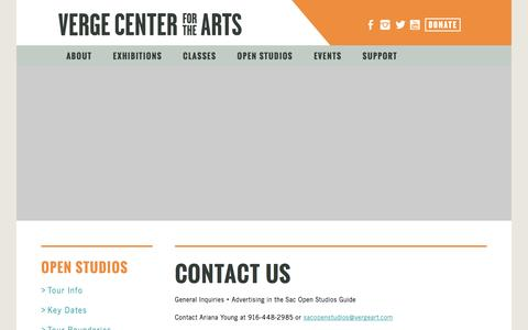 Screenshot of Contact Page vergeart.com - Verge Center for the Arts - captured Nov. 29, 2016
