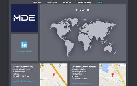 Screenshot of Contact Page mde-group.com - Contact   MDE Group - captured Oct. 4, 2014
