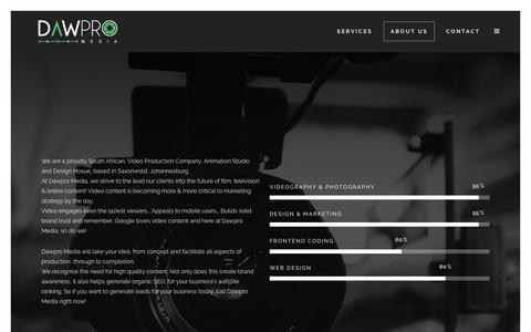 Screenshot of About Page dawpromedia.co.za - About Us – Dawpro Media - captured Oct. 7, 2018