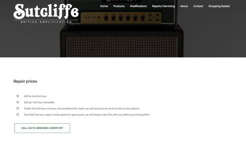 Screenshot of Pricing Page sutamps.com - Sutcliffe Amplification | Repair prices - captured Feb. 18, 2016