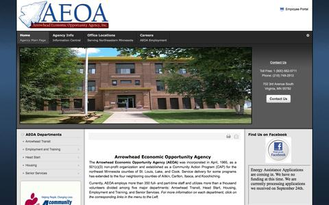 Screenshot of Home Page aeoa.org - Arrowhead Economic Opportunity Agency | Home - captured Oct. 4, 2014