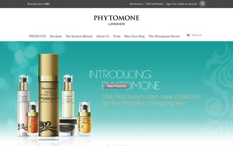 Screenshot of Home Page phytomone.com - Luxury Skin Care Collection by Phytomone London | Menopause Skin Care - captured June 18, 2015