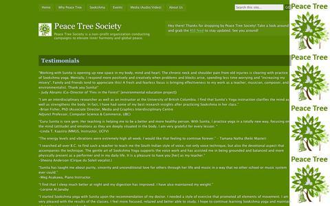 Screenshot of Testimonials Page wordpress.com - Testimonials | Peace Tree Society - captured Sept. 12, 2014