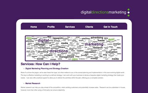 Screenshot of Services Page digitaldirectionsmarketing.co.uk - Online Marketing Services | Digital Strategy, Social Media and Content Management - captured Sept. 30, 2014