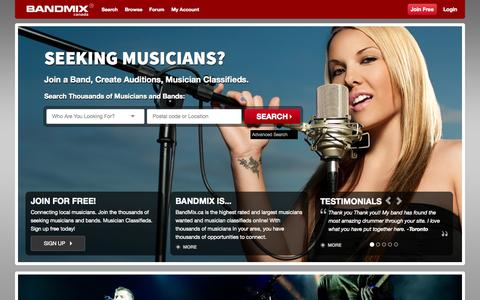 Screenshot of Home Page bandmix.ca - Canadian Musicians Wanted - Canada Find Local Musicians Classifieds and Bands Online : BandMix.ca - captured Sept. 19, 2014
