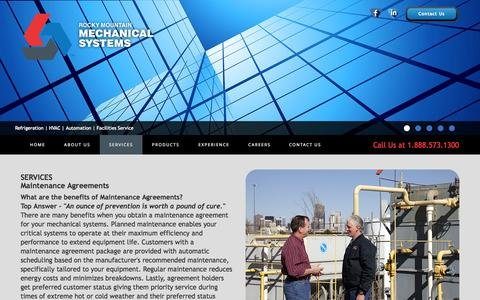 Screenshot of Services Page rockymech.com - Maintenance Agreements | Rocky Mountain Mechanical - captured Oct. 8, 2014