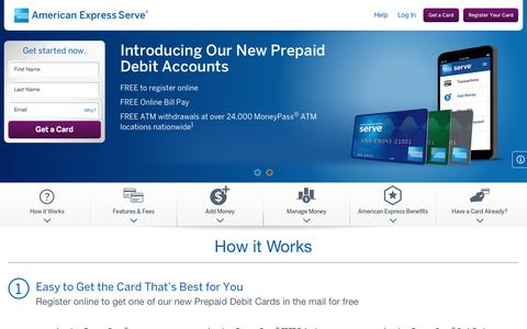 Screenshot of Home Page serve.com - Reloadable Prepaid Cards | American Express Serve® Account - captured Oct. 1, 2015