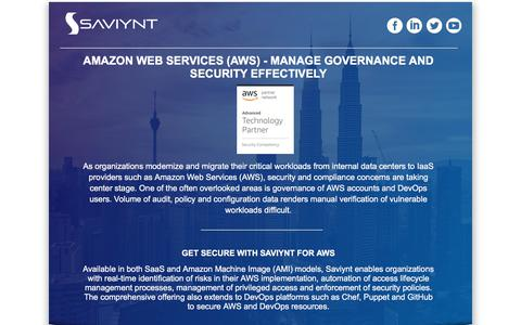 Screenshot of Landing Page saviynt.com - AMAZON WEB SERVICES (AWS) - Manage Governance and Security Effectively - captured April 1, 2018