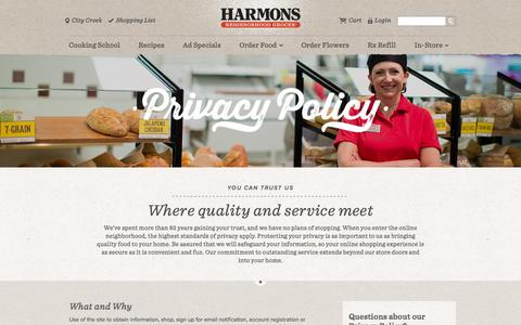 Screenshot of Privacy Page harmonsgrocery.com - Privacy Policy - captured Oct. 28, 2014