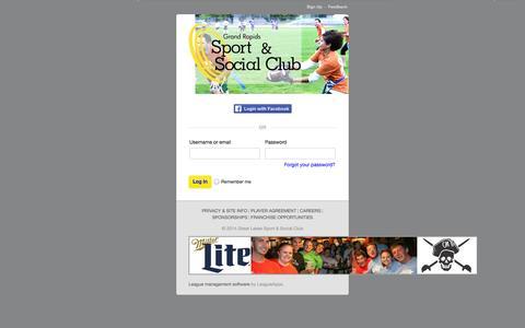 Screenshot of Login Page grssc.com - Login : Grand Rapids Sport & Social Club - captured Oct. 3, 2014