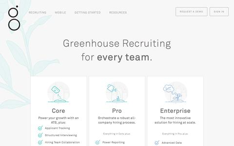 Screenshot of Pricing Page greenhouse.io - Recruiting Software & Applicant Tracking System | Greenhouse - captured Jan. 13, 2018