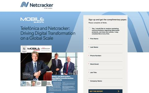 Screenshot of Landing Page netcracker.com - Driving Digital Transformation on a Global Scale - captured Oct. 5, 2019