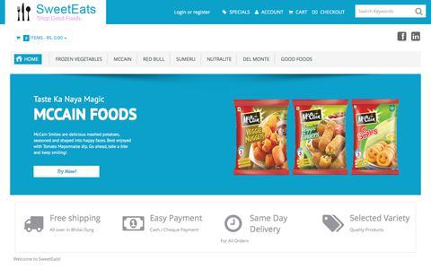 Screenshot of Home Page sweeteats.in - Sweet Eats - captured Sept. 19, 2017