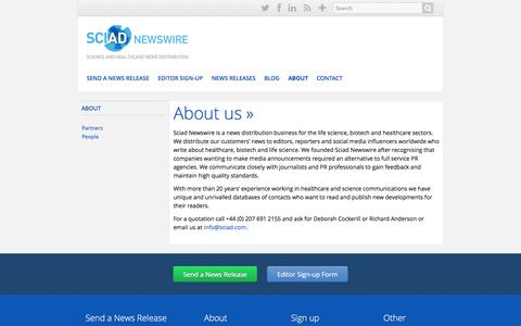 Screenshot of About Page sciadnewswire.com - About us | Sciad Newswire - captured Sept. 30, 2014