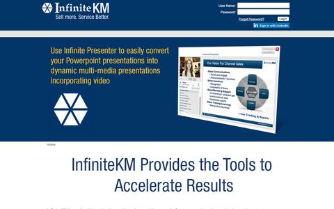 Screenshot of Login Page infinitekm.com - Channel Sales | Contact Centers | Sales Enablement | Proposal Generation | Analytics | Knowledge Base | Communication Tools - captured July 23, 2016