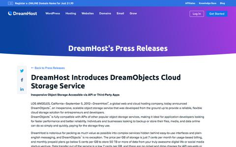 Screenshot of Press Page dreamhost.com - DreamHost Introduces DreamObjects Cloud Storage Service  – DreamHost - captured Feb. 21, 2020